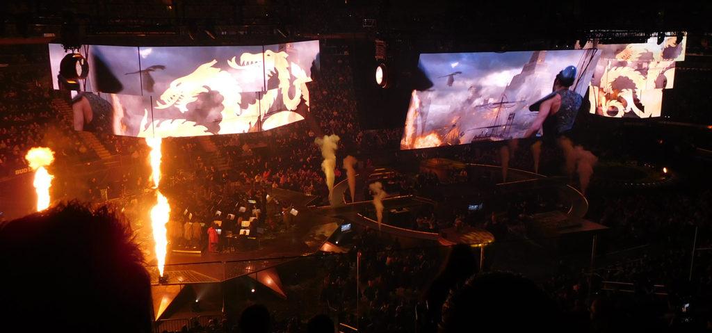 Vuur en draken tijdens het concert